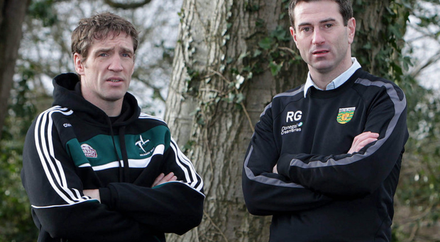 Old rivals: The roles may have changed and for Kieran McGeeney (left) the team too, but when he leads his Armagh side into battle against Donegal on Sunday he will find a big fan in opposite number Rory Gallagher (right)