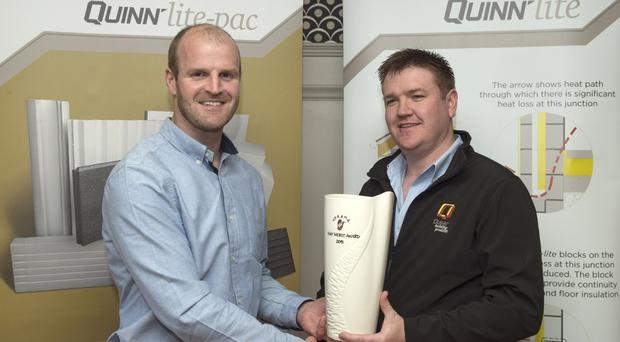 Winner: Quinn Products Area Manager Terry Fay presents Monaghan midfielder Dick Clerkin with his UGAAWA May Merit Award