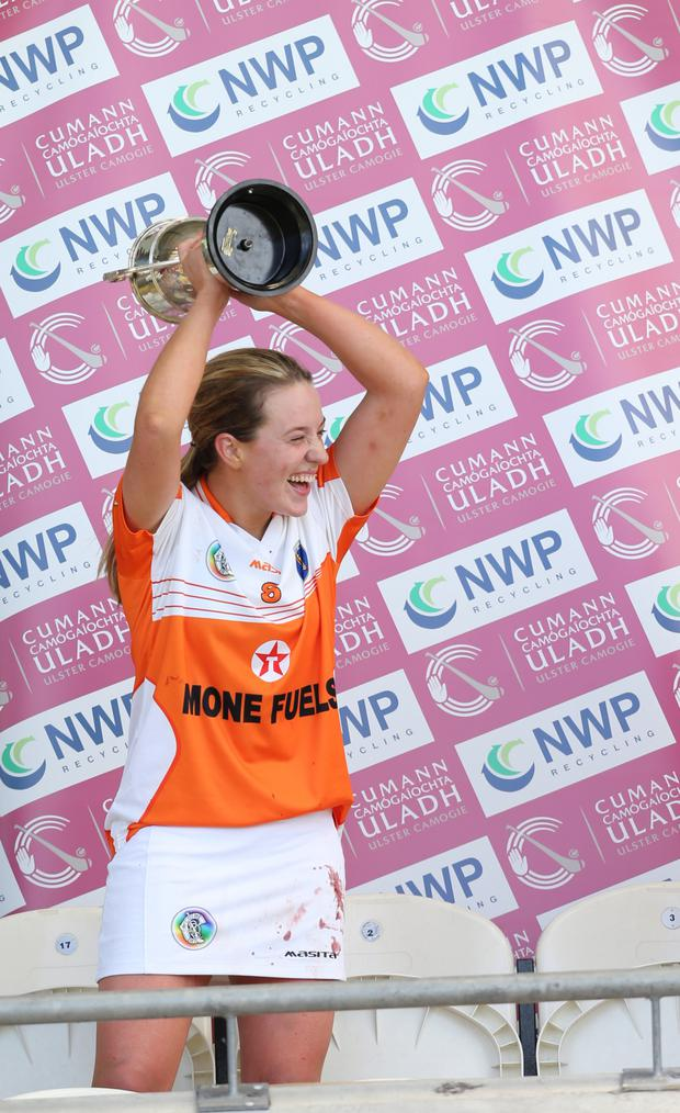 Winners: Ciara Donnelly lifts the cup for Armagh