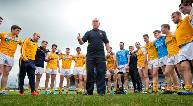 Wise words: Antrim boss Frank Fitzsimons will be hoping his team can deliver when they face Fermanagh on Sunday