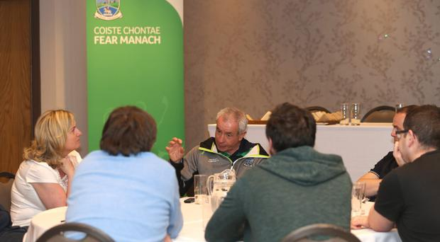Holding court: Peter McGrath chats to the media at the Enniskillen Hotel