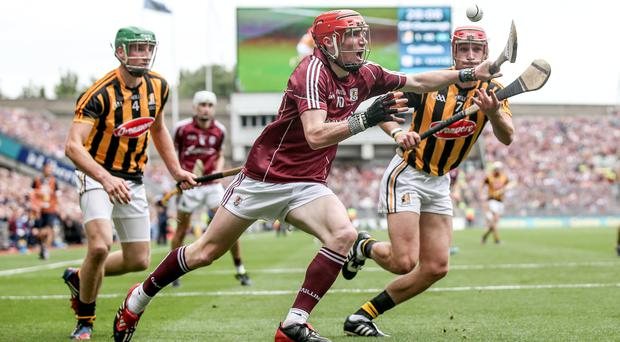 Pressure on: Galway's Conor Whelan is closed down by Shane Prendergast and Cillian Buckley of Kilkenny