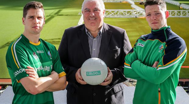 Testing time: Lee Keegan of Mayo, International Rules manager Joe Kernan and Monaghan captain Conor McManus who are gearing up to take on Australia in the International Rules Series