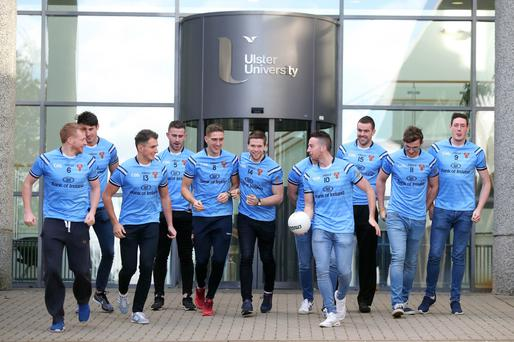 Up for cup: the University of Ulster team at the launch of the Sigerson Cup, which will take place at Shore Road next February