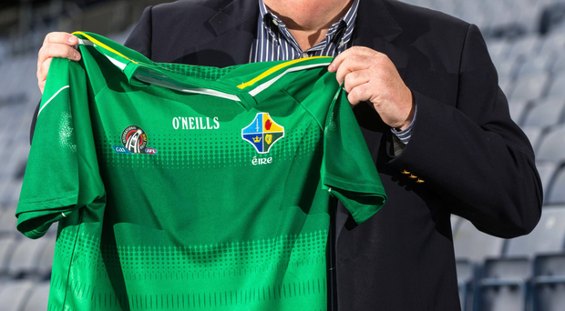 Getting shirty: Boss Joe Kernan shows off the Ireland jersey ahead of the International Rules clash with Australia at Croke Park