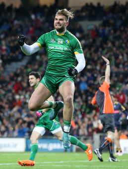 On a high: Ireland's Aidan O'Shea celebrates hitting the target at Croke Park