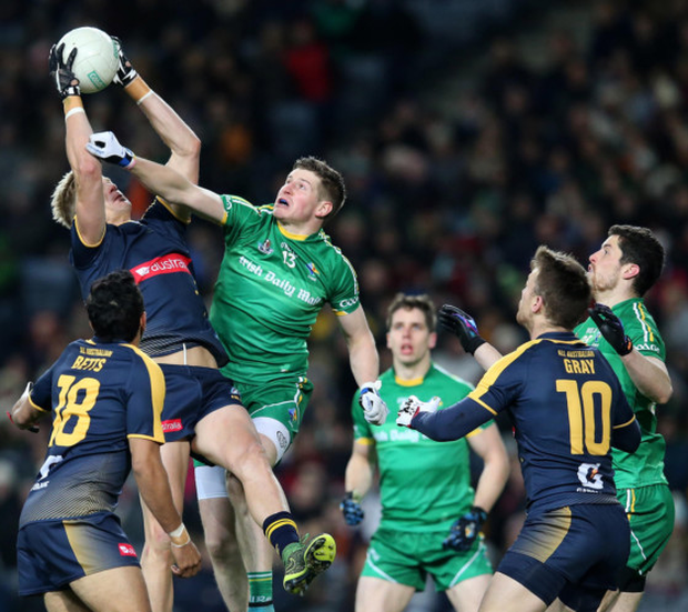 Hitting the heights: Ireland's Darren Hughes keeps his eye on the ball in the victory over Australia at Croke Park