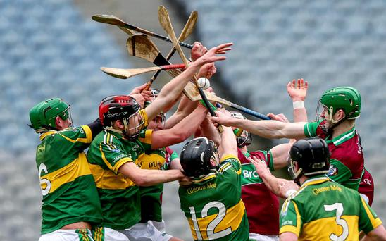 Hands up: Eoghan Rua and Glenmore players battle for the ball