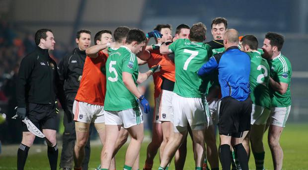 Pitch battle: Armagh and Fermanagh players
