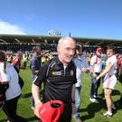 Promised land: Mickey Harte at the end of Tyrone's dramatic Ulster Final victory over Donegal in Clones on Sunday