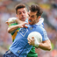 Happy Dubs: Kerry's Aidan O'Mahony wrestles with Michael Darragh MacAuley
