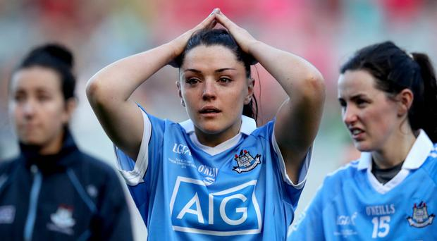 Emotional end: Dublin's Sinead Goldrick at the finish