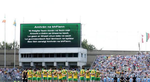 Controversial: The singing of the Irish National Anthem at matches has been questioned by GAA President Aoghan O'Fearghail