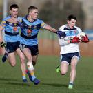 Cup on campus: UUJ's Eoin McHugh with UCD's Paul Mannion during their Sigerson match last week