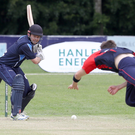 Big hitter: Ed Joyce on his way to 116 deals with a delivery from Rob McKinley of the Northern Knights yesterday