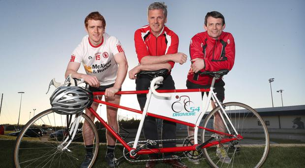 Peter Harte, Michael McGirr and Aidan McCrory launch the ride in aid of the charity named after Paul McGirr