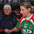 Job done: Mayo and Carnacon All-Star Cora Staunton is congratulated by fans following the win over St Macartan's yesterday