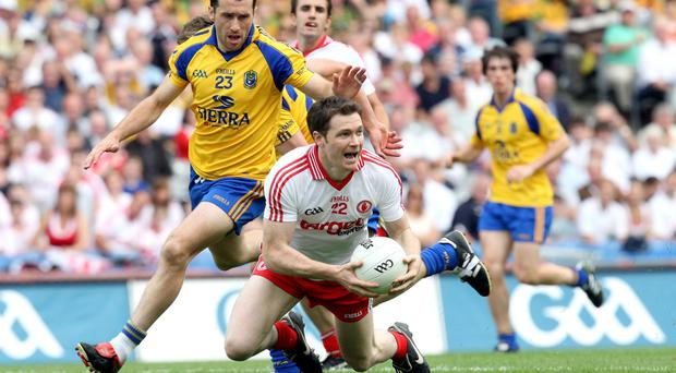 All action: Enda McGinley in qualifier action for Tyrone against Roscommon at Croke Park back in 2011