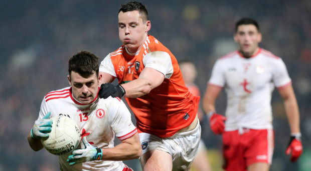 Hungry again: Darren McCurry charges forward during Tyrone's McKenna Cup final success