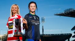 Leading women: Naomh Pol's Aine Tubridy and Naomh Ciaran's Amy Gavin Mangan hold up the trophy
