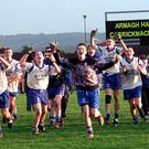 Armagh Harps celebrate their 2003 win over Carrickmacross