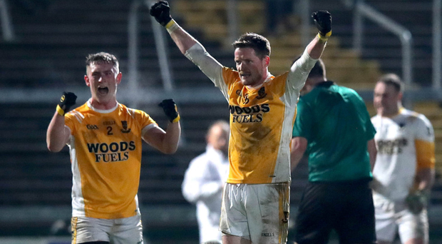 Mixed emotions: Clontibret's Conor McManus celebrates at the final whistle