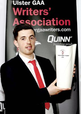 Top man: Ronan O'Neill with his Ulster Writers' trophy