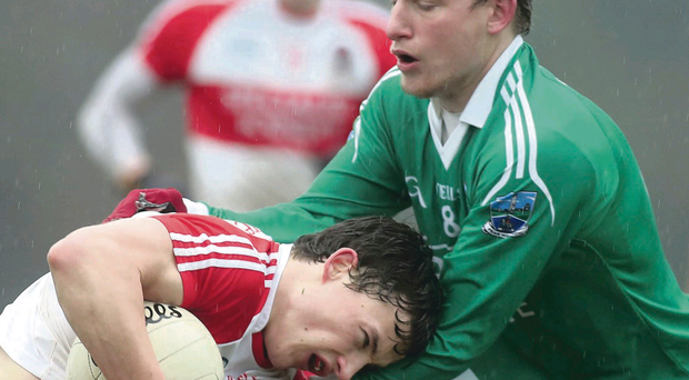 Derry and Fermanagh contested a tight affair at Owenbeg yesterday