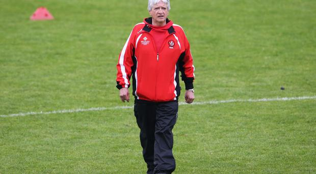 Testing time: Brian McIver and Derry have just one point