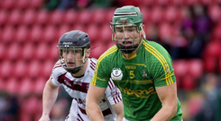 Old rivals: Dunloy's Kevin McKeague is closed down by Slaughtneil's Brendan Rodgers in the 2017 Ulster Championship