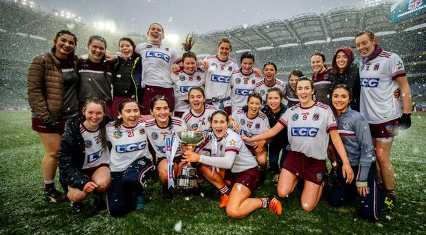 Refreshing success: Slaughtneil celebrate their win in the AIB All-Ireland Senior Camogie Club Championship Final