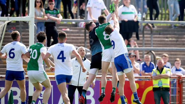 Eoin Donnelly pounces for a late Fermanagh goal