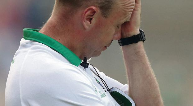 A dejected Peter Canavan as Fermanagh are defeated by Cavan for a second time
