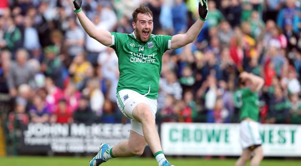 Jumping for joy: Sean Quigley shows his delight after helping Fermanagh to complete a late comeback