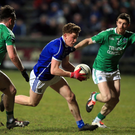 Closing in: Fermanagh's Barry Mulrone tries to stop Cavan's Conor Moynagh