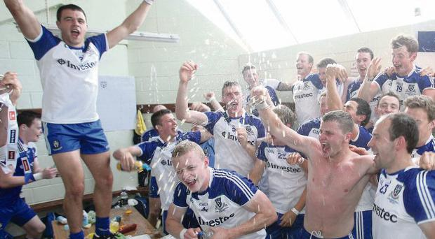 Monaghan players celebrate their win over Donegal