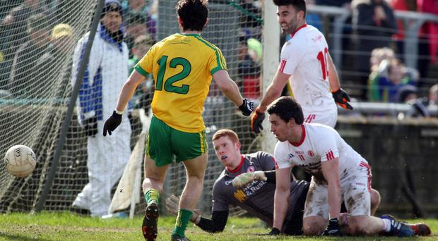 Goal getter: Donegal's Ryan McHugh slots home the game's only goal against Tyrone yesterday in Ballybofey