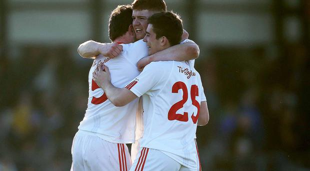 Final countdown: Tyrone's Cathal McShane and team mates celebrate after the All-Ireland semi-final victory over Roscommon in Sligo