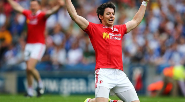 Joy: Tyrone's Mattie Donnelly celebrates after the final whistle