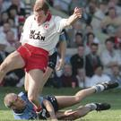 New Tyrone U21 boss Feargal Logan in action for the Red Hands in the 1995 All-Ireland final against Dublin at Croke Park