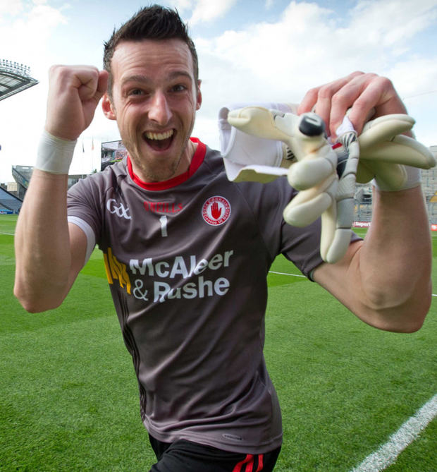 Niall Morgan celebrates victory at Croke Park but now fighting to keep his Tyrone No 1 shirt