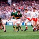 Flashback: Mikey Sheehy, supported by Ger Power of Kerry, is chased by Tyrone's Harry McClure, Joe Mallin and John Lynch in the 1986 All-Ireland Final