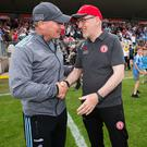 Rallying call: Tyrone manager Mickey Harte with Dublin counterpart Jim Gavin