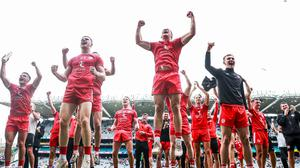 Jumping for joy: Tyrone players celebrate after holding off Monaghan at Croke Park. Credit: INPHO/Tommy Dickson