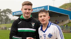 Star man: John MacRory presents man of the match prize to Michael McConville of Clan na Gael