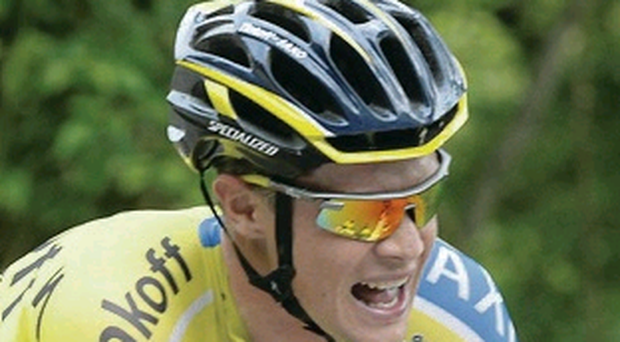 In gear: Nicolas Roche in action yesterday
