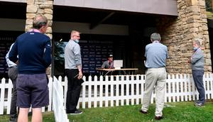 Meet the press: Eddie Pepperell carries out a virtual press conference at the British Masters
