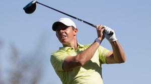 Rory McIlroy watches his shot from the 12th tee during the third round of the CJ Cup golf tournament at Summit Club in Las Vegas on Saturday (Erik Verduzco/Las Vegas Review-Journal via AP)