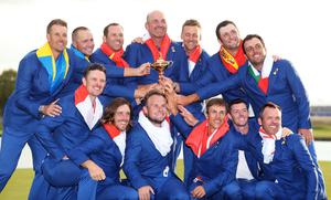 Tyrrell Hatton (front row, centre) was part of Europe's winning Ryder Cup team in Paris in 2018 (David Davies/PA
