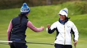 Georgia Hall and Celine Boutier fought back to secure Europe's only afternoon fourballs win against the USA at Gleneagles (Jane Barlow/PA)